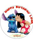 7.5 Personalised Lilo and Stitch  Edible Icing or Wafer Cake Topper Lilo & Stitch